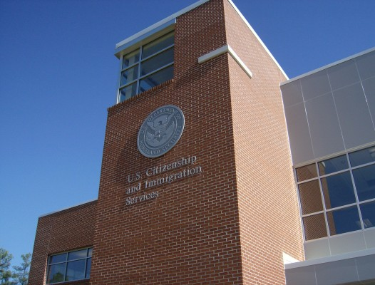 U.S. Citizen and Immigration Services Building Exterior with Seal